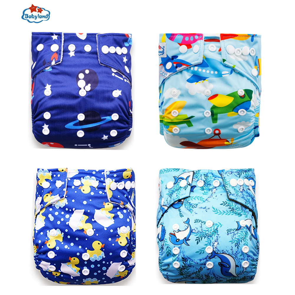Babyland New Prints 4pcs/Lot Eco-Friendly Cloth Diaper Washable Nappy Reusable Diapers For 0-2 Years (3-15kg ) Baby UnderWear
