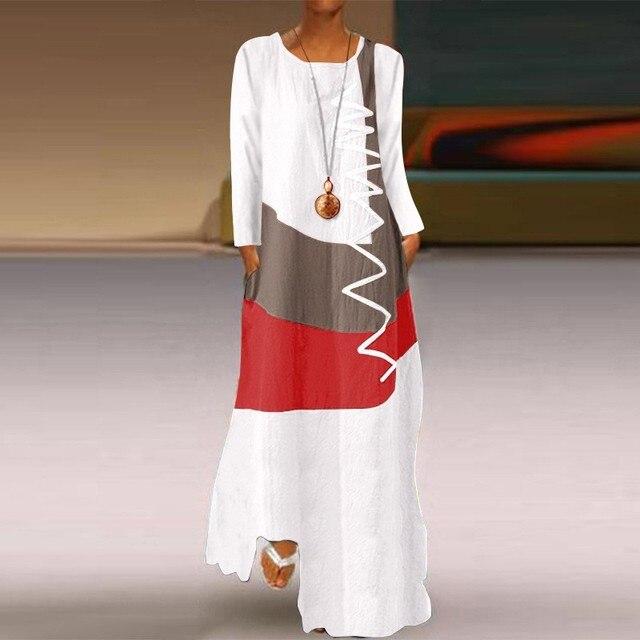 Фото женское длинное платье осеннее повседневное модное лоскутное