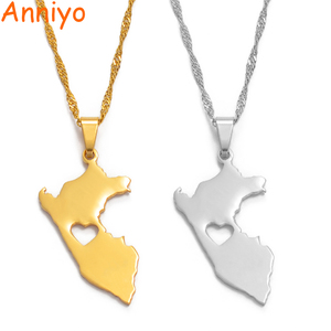 Anniyo Перу карта кулон ожерелья для женщин/мужчин золотой цвет/серебряный цвет карта Перу ювелирные изделия перуанские #006121