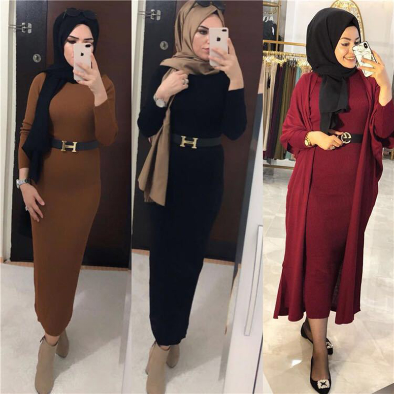 Muslim Base Sweater Dress Crew Neck Long Sleeve Knitted Long Skirts Turkey Girly Style Women's 19822