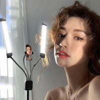 Dimmable Photo Studio Twin LED Double Arms Fill Ring light Long LED Strips Tripods LED White and Yellow color For Camera Video