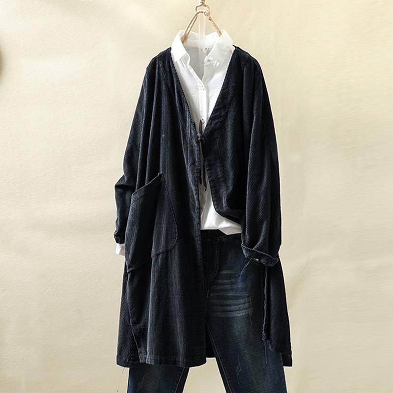 ZANZEA Women V Neck Long Sleeve Corduroy Blouse Vintage Casual Corduroy Tops Solid Autumn Outwear Loose Cardigan Long Jackets 7