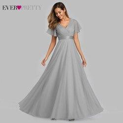 Голубое платье для выпускного вечера размера плюс 2019 Ever Pretty EP07962 элегантное женское сексуальное длинное платье из тюля с v-образным вырезом ...