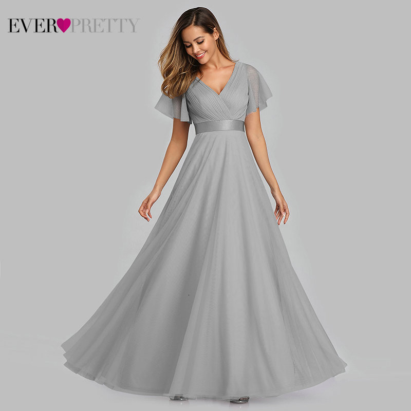 Plus Size Blue   Prom     Dress   2020 Ever Pretty EP07962 Elegant V-Neck Tulle Women Sexy Long   Prom     Dresses   Formal Summer Party Gowns