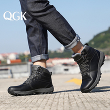 QGK Winter Warm Men Boots Genuine Leather Fur Plus Men Snow Boots Handmade Waterproof Working Ankle Boots High Top Men Shoes
