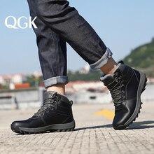 Qgk 겨울 따뜻한 남자 부츠 정품 가죽 모피 플러스 남자 스노우 부츠 수제 방수 작업 발목 부츠 높은 상위 남자 신발