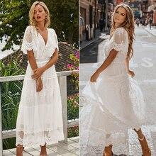 Hollow Out beyaz elbise seksi kadınlar uzun dantel elbise çapraz yarı şeffaf dalma v yaka kısa kollu dantel Maxi elbise