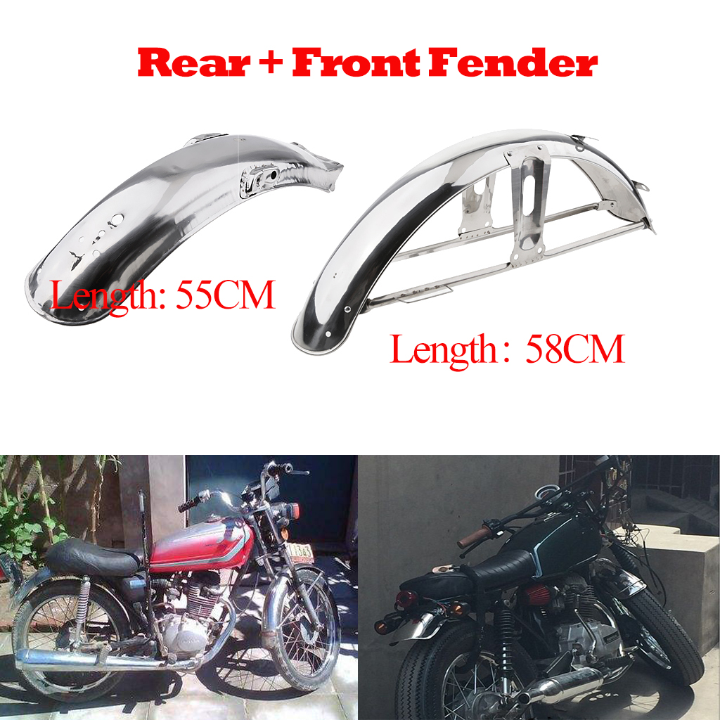 2pcs 58cm Front + 55cm Rear Back Splash Guard Mud Flap For Honda CG 125 - Stainless Steel