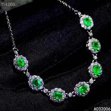 KJJEAXCMY fine jewelry 925 sterling silver inlaid natural emerald bracelet popular female hand bracelet support testing