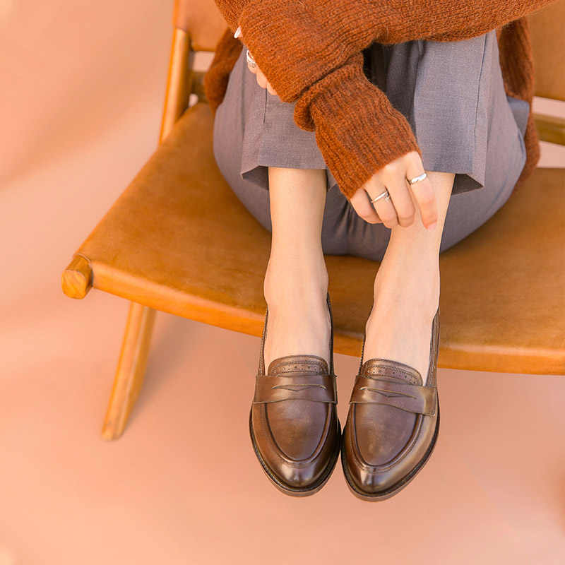 BeauToday Cổ Điển Penny Loafer Nữ Da Bò Thật Phong Cách Anh Quốc Mũi Nhọn Slip On Nữ Flat Làm Bằng Tay 27112