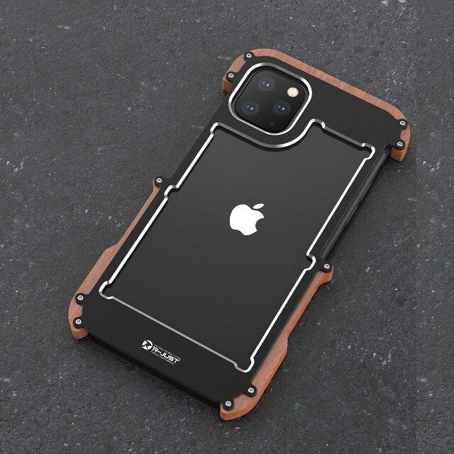R فقط معدن الألمنيوم حقيبة لهاتف أي فون 11 برو الغطاء الخلفي للصدمات حقيبة لهاتف أي فون 11 11 برو ماكس الخشب + المعادن مكافحة للخبط غطاء