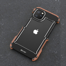 R Just Aluminum Metal Case For iPhone 11 Pro Back Cover Shockproof Case For iPhone 11 11 Pro Max Wood+Metal Anti knock Cover