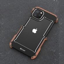 R Solo Cassa di Alluminio Del Metallo Per il iPhone 11 Pro Posteriore Della Copertura Della Cassa Antiurto Per il iPhone 11 11 Pro Max legno + Metallo Anti knock Copertura