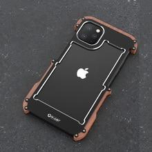 R רק אלומיניום מתכת מקרה עבור iPhone 11 פרו חזרה כיסוי עמיד הלם מקרה עבור iPhone 11 11 Pro מקסימום עץ + מתכת אנטי לדפוק כיסוי