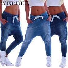 Wepbel jeans de moda feminina casual solto cor sólida mid cintura cordão de comprimento total cross-pants