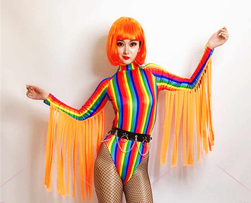 Nachtclub Sexy Kleurrijke Gestreepte Kwastje Jumpsuit Festival Outfit Rave Kleding Vrouwelijke Volwassen Zanger Dj Bodysuit Stadium Dancewear