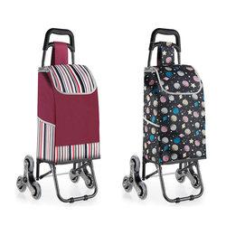 Carrinho de compras dobrável com 3 rodas engrossar haste bagagem escalada trole pesado rolamento portátil saco de compras à prova dwaterproof água