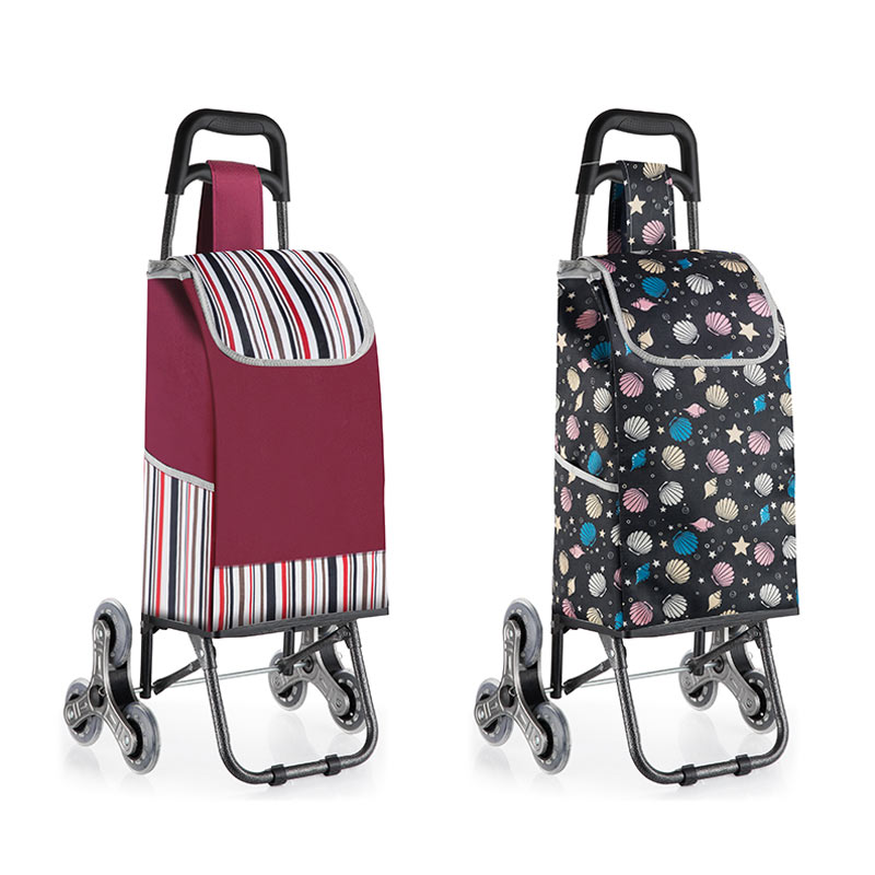 Foldable Shopping Cart With 3-Wheel Thicken Rod Luggage Climbing Trolley Heavy Bearing Portable Waterproof Shopping Bag