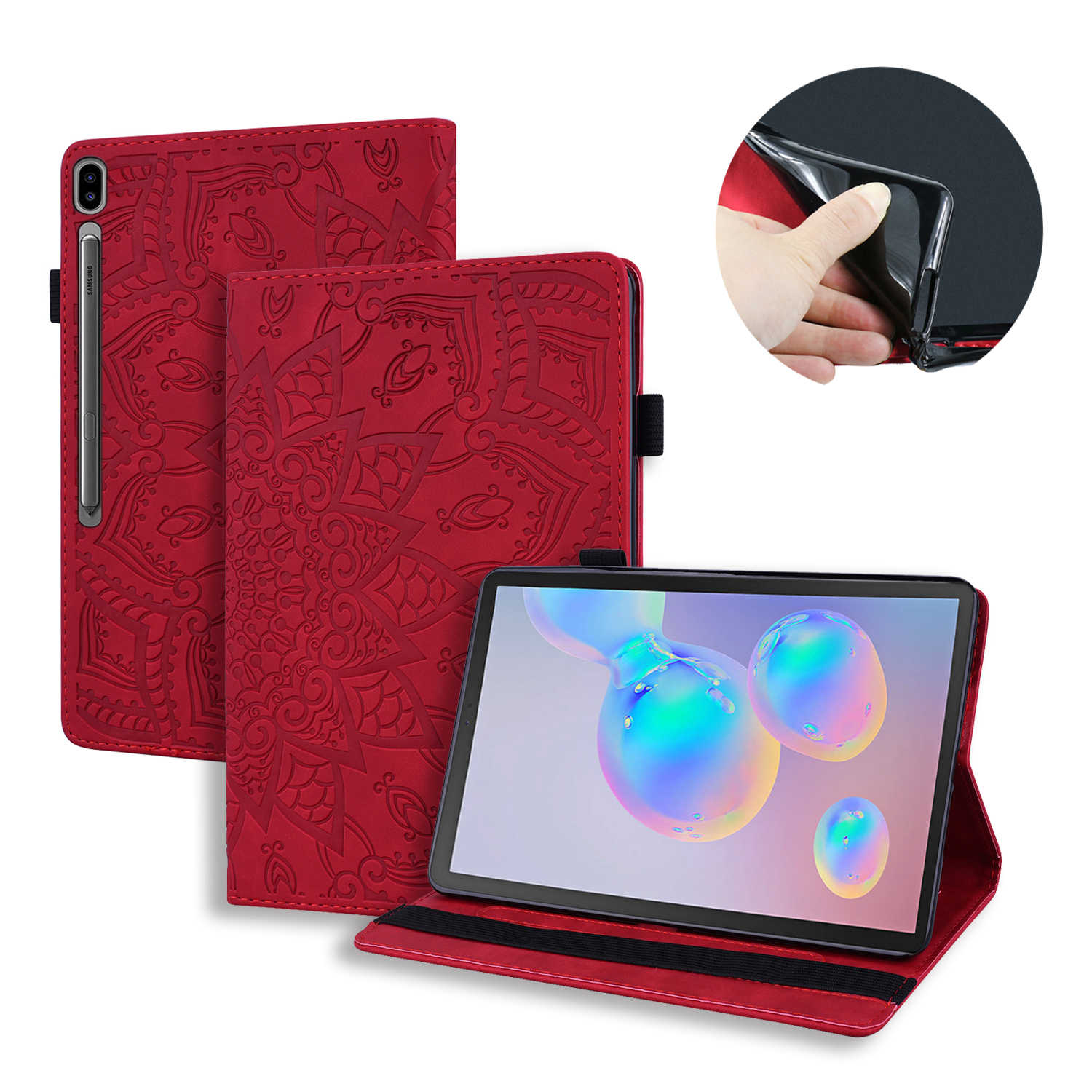 Fashion Slim Kulit Tablet Case For Samsung 10.5 T860 Tab S6 Case Flip Embossed Bunga Pola Kartu Slot Berdiri Cover untuk SM-T865