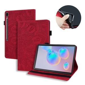 Модный тонкий кожаный чехол для планшета для samsung 10,5 T860 Tab S6, чехол с откидной крышкой, Тисненый Цветочный узор, слот для карт, подставка, чехо...