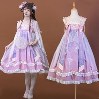 Chinese style lolita dress vintage lace bowknot cute printing kawaii dress high waist victorian dress gothic lolita jsk loli cos