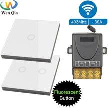 Interruptor de pared inteligente con Sensor táctil, dispositivo inalámbrico de 86x86, AC220V, 30A, 1/2/3 entradas, Control remoto, encendido y apagado, para ventilador, bomba, calentador y lámpara