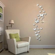 12 шт. 3D зеркала бабочки наклейки на стену декоративная Съемная настенная комната новые