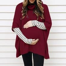 Женский свитер для беременных с высоким воротником, с длинным рукавом, в полоску, топы, пуловер, свитер, осенне-зимняя одежда для беременных, S-L3