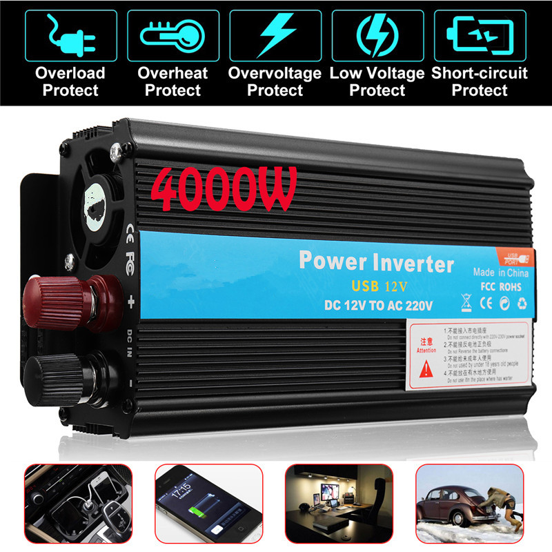 Inverter 12V 220V  4000W  Peak Power Voltage Transformer Converter 12V To 220V Solar Sine Wave Inverter