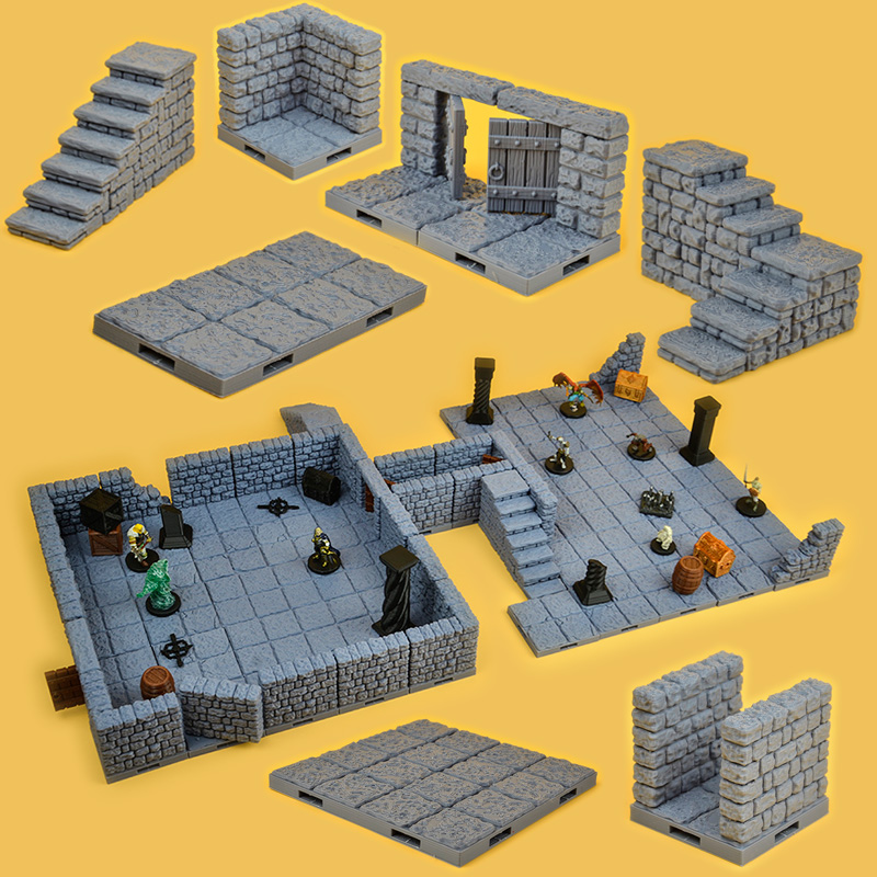 Dragons TRPG Lock Dungeons Expansion Pub Town Building Set Miniature Game Wooden Floor Wall Window Door Pillar NPC 3d Models