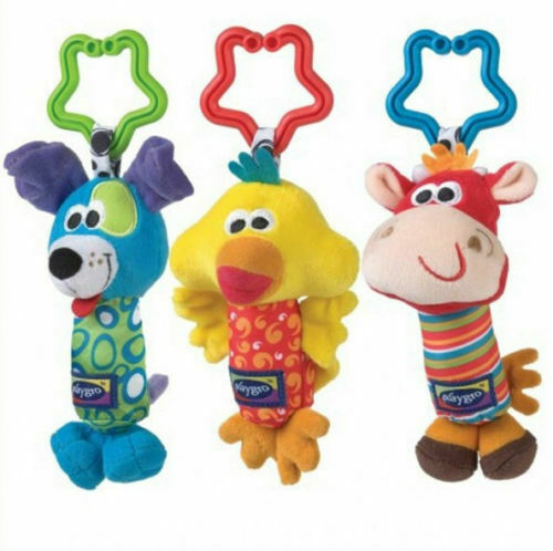 Cartoon Infant Baby Soft Handbells Rattles Car Bed Stroller Bell Toy Developmental