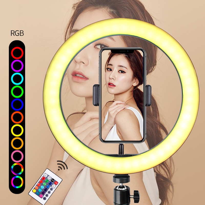 10inch RGB Selfie Ring Light Shape Light Adjustable Telescopic Tripod And Phone Clip Remote Controlling Ring Fill Lamp Remote