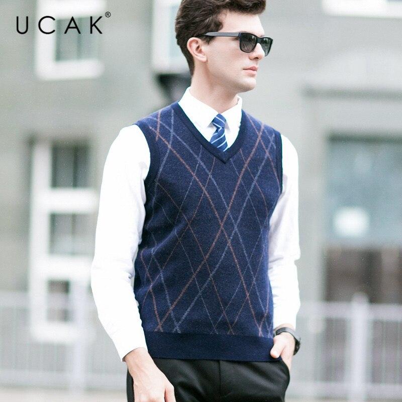 UCAK Brand Pure Merino Wool Sweater Vest Casual Striped Streetwear Business Pure Merion Wool 2019 Autumn Winter Sweaters U3106