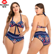 2020 New Bikinis Women Swimsuit High Waist Bathing Suit Plus Size Swimwear Push Up Bikini Set Flower Printed Biquini plus size high waist printed bikini set