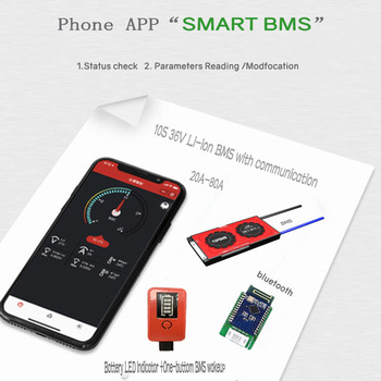10S 36V Li-ion BMS 20A-80A with Bluetooth phone APP RS485 CANbus NTC UART GPS for Li-ion Batteries 3.7V connected in 10 series image