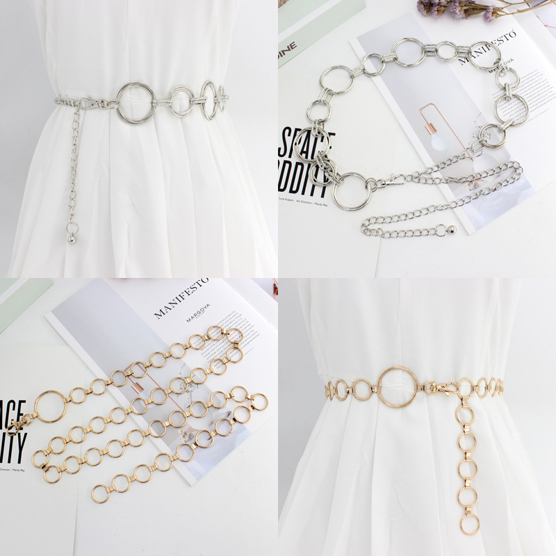 CETIRI Fashion Womens High Waist Round Circle Chain Belt For Dresses Female Girls Designer Metal Silver Gold Belts Female