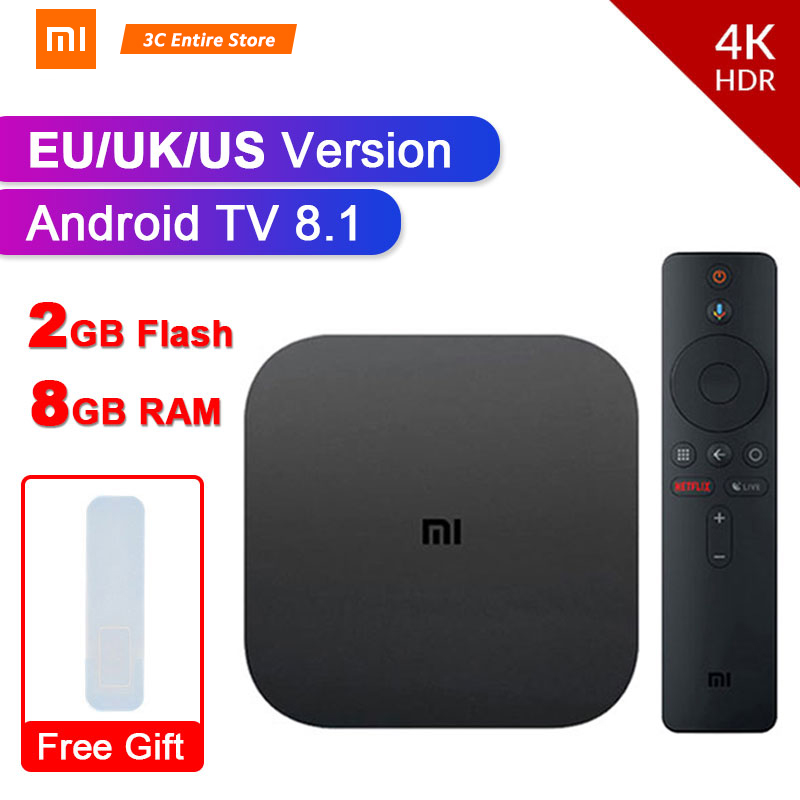 Original Global Version Xiaomi Mi Box S 4 Android 8.1 4K QuadCore Smart TV Box 2GB 8GB HDMI 2.4G 5.8G WiFi BT4.2 Mali450 1000Mbp