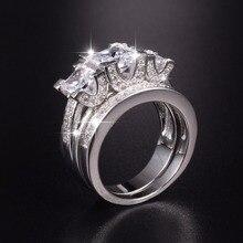 مقاس 5,6 ، 7,8 ، 9,10 سيدة 925 فضة استرلينية مربعة مقلد الماس مرصوف ثلاثة حجر خاتم الزواج مجموعات مجوهرات للنساء