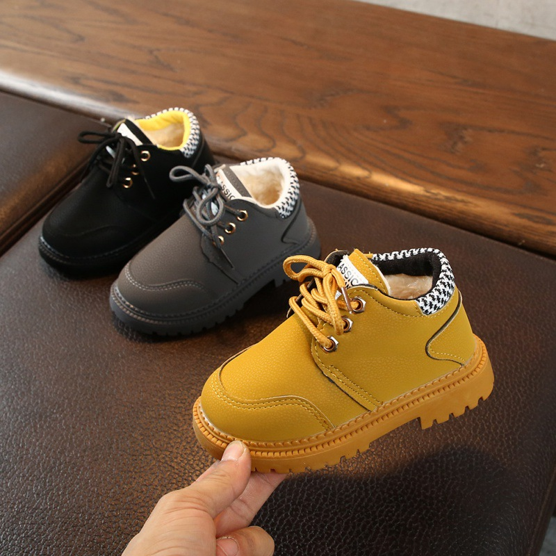 Winter kid Casual Leather Boot Baby Boy Lace-Up Shoes Anti-slip Walking Shoe NEW