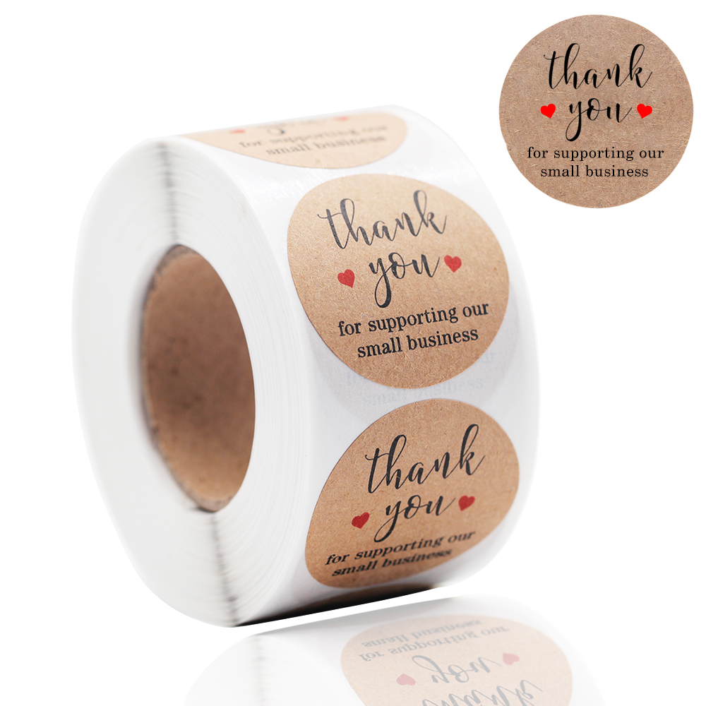 Paper Kraft-Stickers Supporting Thank-You Small Making Gift-Card/gift-Box Business-500pcs title=