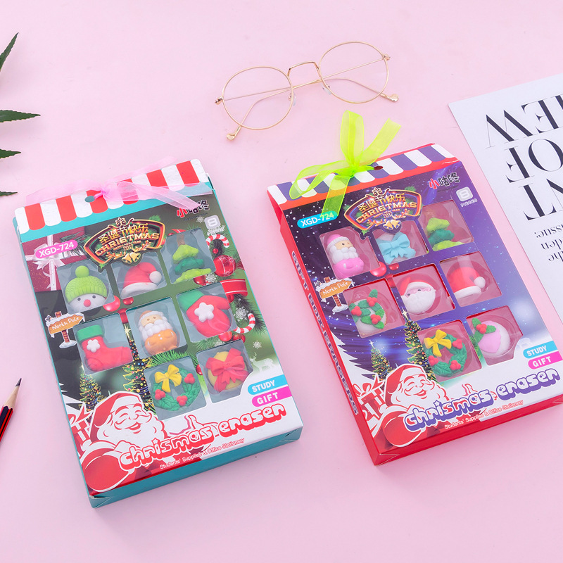 9Pcs/Lot Christmas Pencil Erasers For Office School Creative Stationery Supplies Kawaii Kids Writing Drawing Student Gift Set