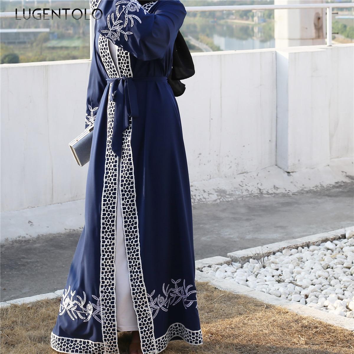 Lugentolo Elegant Women Long Dress Embroidered Stitching Lace Cardigan Fashion Muslim Dress Abaya Loose Casual Lady Maxi Dresses