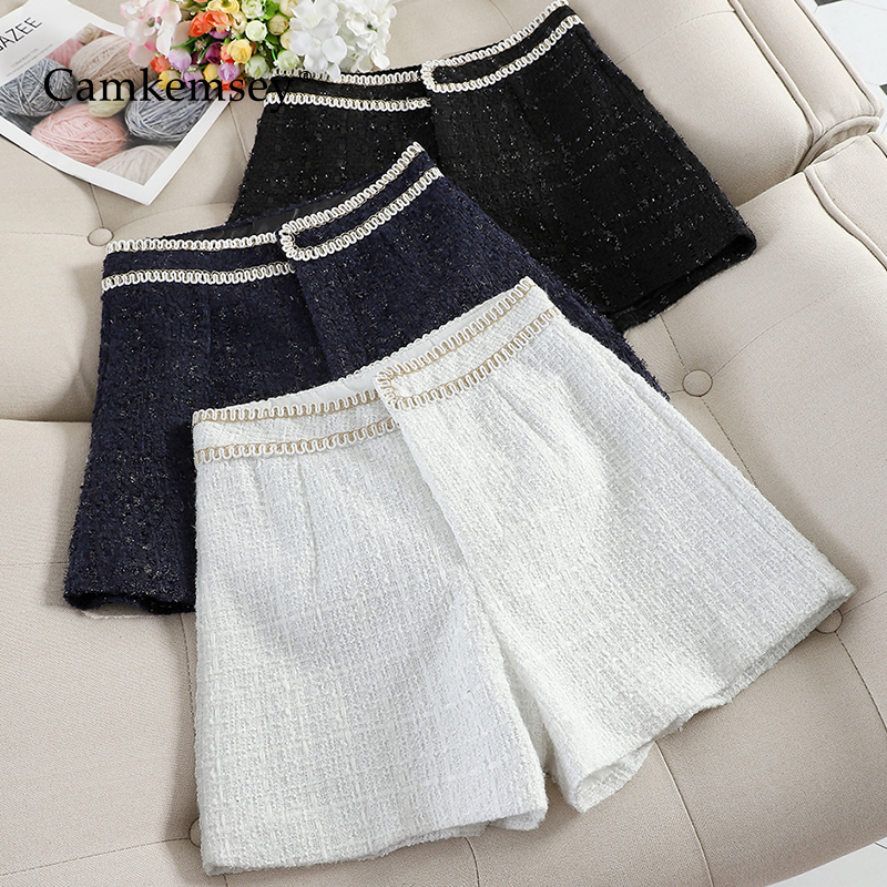 CamKemsey Korean Chic Office Wear Casual Shorts Women Fashion Sequins Autumn Winter Wool Blends Wide Leg Shorts