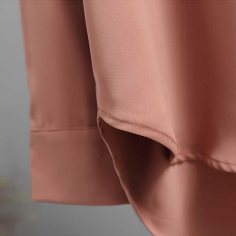2019 otoño nueva Blusa de gasa para mujer blusa de oficina con cuello en V botón suelto Casual camisas sólidas para mujeres prendas de vestir camisetas 5104 50