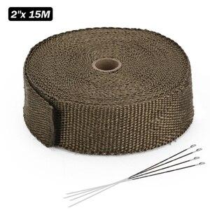 Image 4 - Rotolo di avvolgimento termico di scarico in titanio / nero di alta qualità 5cm * 5M 10M 15M per nastro scudo termico in fibra di vetro per moto con lacci in acciaio
