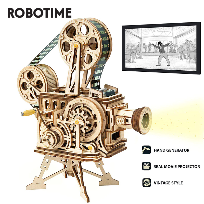 Robotime Hand Crank Projector Classic Film Vitascope 3D Wooden Puzzle Model Building Block Toys For Children Adult LK601