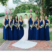 Navy Blue Bridesmaid Dresses Wedding Party Guest Dress Woman Plus Size Long Party Dress