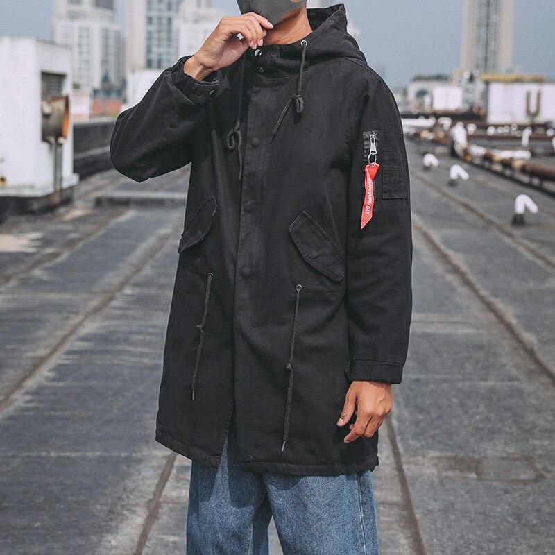 Мужская куртка, весна и осень 2019, новинка, Длинная ветровка, пальто, модное, повседневное, тонкое, хлопок, с капюшоном, одноцветное, пальто раз... - 2