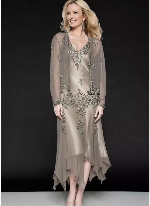 Tea Length Short Evening Guest Gowns Cheap Plus Size New Two Pieces 2018 Mother Of The Bride Dresses With Long Sleeve Jacket