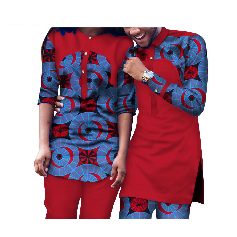 2 Piece Set African Dashiki Print Couple Clothing for Lovers Men women Shirt and pant long sleeve causal Fashion WYQ106